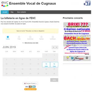 Billetterie evcugnaux.fr